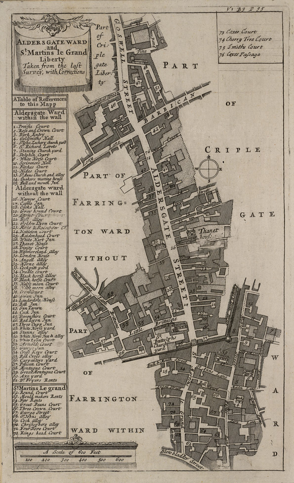 Aldersgate ward and St. Martins le Grand Liberty taken from the last survey, with corrections (1720)